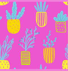 seamless pattern with flowers in pots vector image