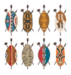 Set african shields ethnic design different tribes vector