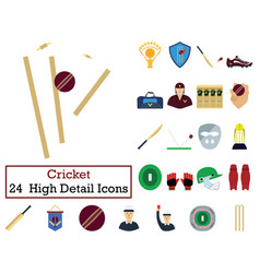 set of 24 cricket icons vector image