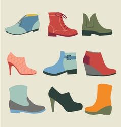 Set of fashion woman footwear vector image