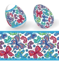 Set of Isolated Easter eggs and seamless geometric vector image