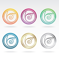 shell icon colours set vector image