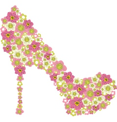 shoe decorated with pink flowers vector image