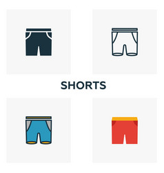 shorts icon set four elements in diferent styles vector image