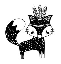 Silhouette cute fox animal with feathers design vector