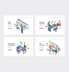 Staff search and placement isometric landing page vector