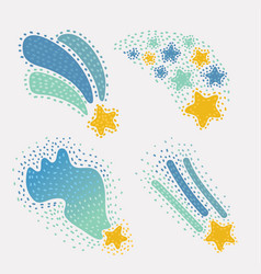 star doodles hand drawn set vector image