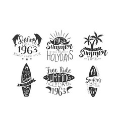 summer time retro labels set best vacation free vector image