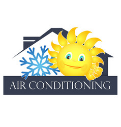 sun and snowflake air conditioning vector image