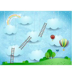 Surreal landscape with ladders and hot air vector
