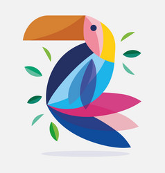 Toucan bird feather foliage nature fauna flora vector