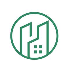 tower residence circular outline logo vector image