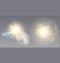Two golden suns with flares vector