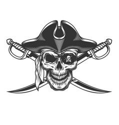 Vintage monochrome skull in pirate hat vector
