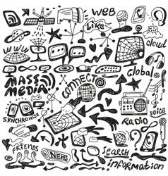 Web mass media - doodles set vector