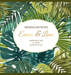Wedding invitation tropical greenery golden text vector
