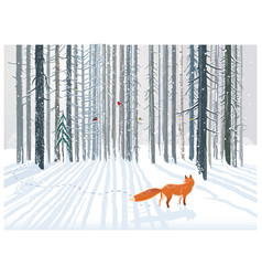 Winter forest landscape with a fox vector