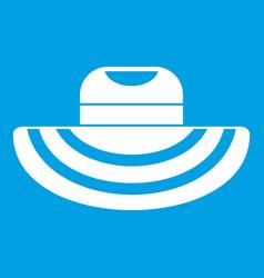 women beach hat icon white vector image