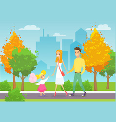 young family walking vector image