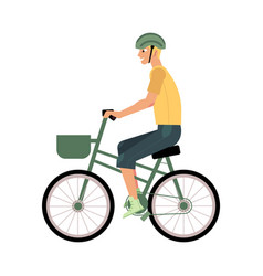 young man riding urban bike with basket isolated vector image