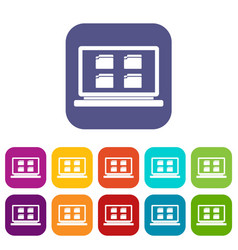 desktop icons set vector image vector image