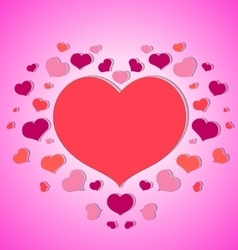 little hearts around a big red heart pink vector image