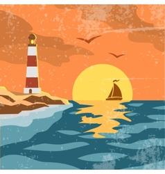 Sea retro poster vector image