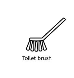 toilet brush simple line icon washing brush thin vector image vector image