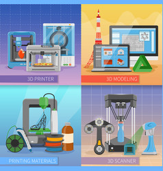 3d printing 2x2 design concept vector image
