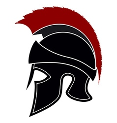 Silhouette Greek Helmet with a Red Crest vector image