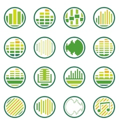 Sound or music round icons set vector image