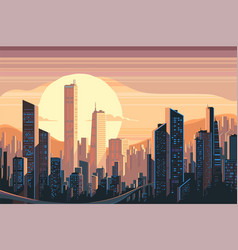Sunrise landscape in city vector