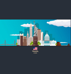 travel to usa new york poster skyline statue of vector image