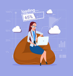 business woman use laptop computer loading vector image