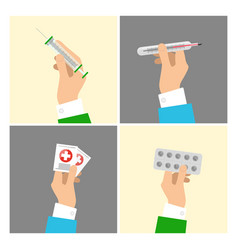 hands holding medical equipments and pills set vector image