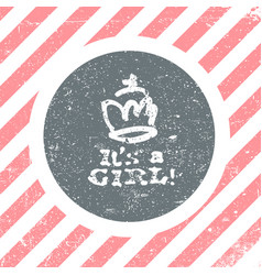 Its a girl lettering baby shower party design vector