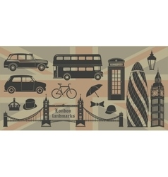London landmarks Britain symbols isolated vector image