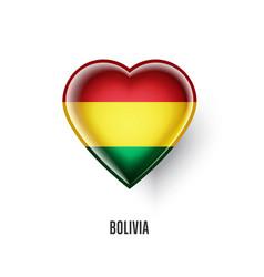Patriotic heart symbol with bolivia flag vector