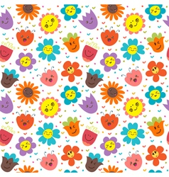 Seamless pattern with happy flowers Cute floral vector image