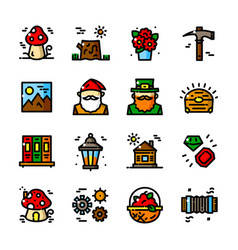 thin line gnome icons set vector image