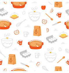 apple pie ingredients pattern vector image vector image
