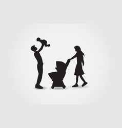 family silhouettes have fun vector image vector image