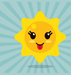 kawaii sun out tongue vector image