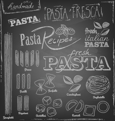 pasta and chalk typography on a chalkboard vector image vector image
