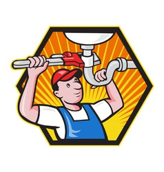 Plumber worker with adjustable wrench vector