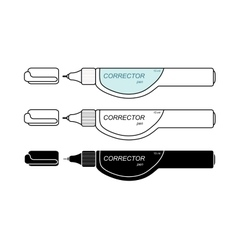 Stationery white corrector pen set vector image vector image