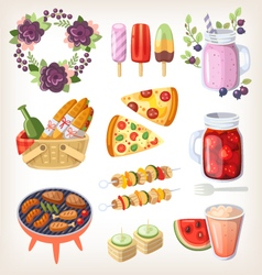Summer food and recreation elements vector image