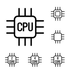 thin line cpu processor icons set vector image vector image