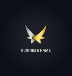 abstract wing fly company gold logo vector image