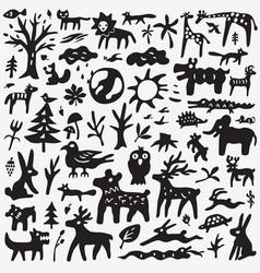 animals doodles vector image